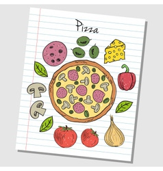 Pizza doodles lined paper colored vector