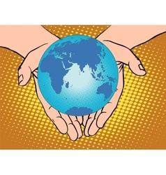 Planet Earth in hands Eurasia Africa Australia vector