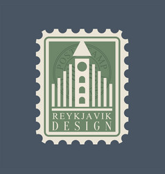 Postmark with famous landmark of reykjavik vector