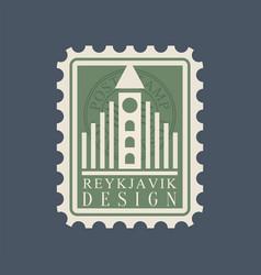 Postmark with famous landmark reykjavik vector