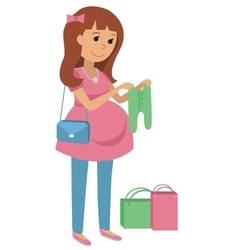 Pregnant young woman chooses clothes for your baby vector image