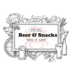 Pub food and beer banner vector