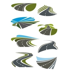 Roads and highway icons set vector