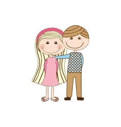 Romantic couple cute cartoon icon image vector