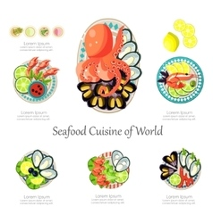 Seafood design set Infographic food business vector image