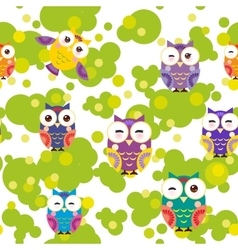 Seamless pattern - bright colorful owls and green vector image