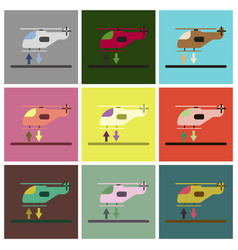 Set of icons in flat design helicopter lands vector