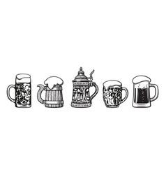 set traditional beer mugs vector image