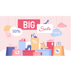 Shoe discount big sale banner with shopping bags vector