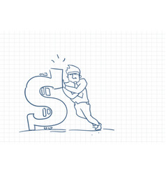 sketch business man standing at big dollar sign vector image