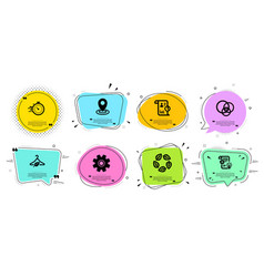 Slow fashion cogwheel and report icons set vector