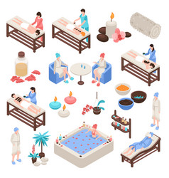 spa and beauty isometric set vector image