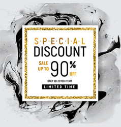 Special discount square golden banner template vector