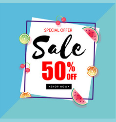 special offer sale 50 off square frame blue backg vector image