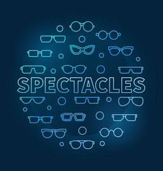 Spectacles round blue linear vector