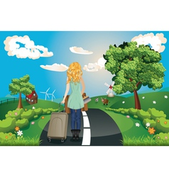 Summer Landscape with Girl vector