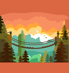 Suspension bridge in jungle design flat vector