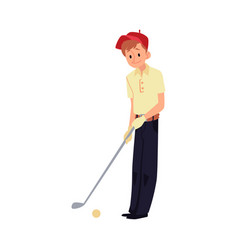 Teenager boy in red cap playing golf flat cartoon vector