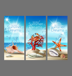 three turquoise backgrounds with summer vector image