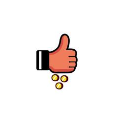 thumb coin logo vector image