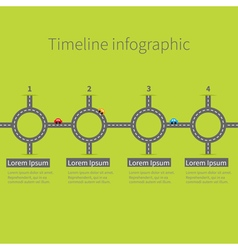 Timeline Infographic four step round circle vector image