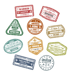 travel or journey visa or passport signs vector image