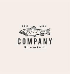 Trout fish hipster vintage logo icon vector