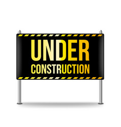 under construction banner isolated on white vector image