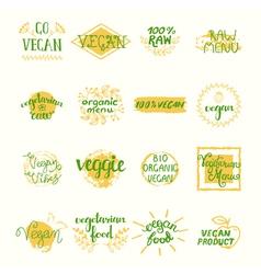 Vegan Retro Elements Set vector image