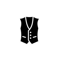 vest icon with glyph style in black solid vector image
