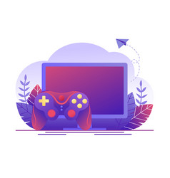 Video gaming online games computer screen and vector