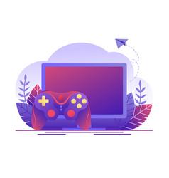 video gaming online games computer screen vector image
