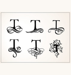 Vintage set capital letter t for monograms and vector