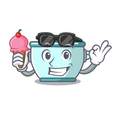 With ice cream steel pot character cartoon vector