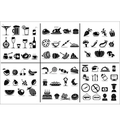 77 food and drink icons set vector image