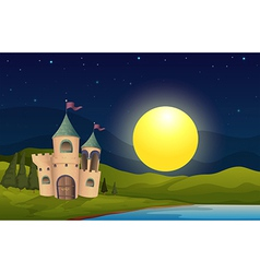 A castle in the middle of the hill vector image vector image
