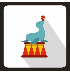 Circus seal with a bal icon flat style vector image
