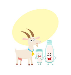 farm goat and milk bottle characters with smiling vector image vector image