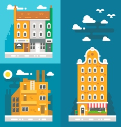 Flat design old european buildings vector image