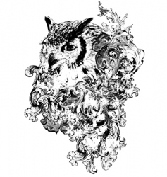 floral owl vector image vector image