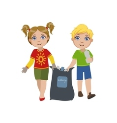 Kids Collecting Garbage vector image