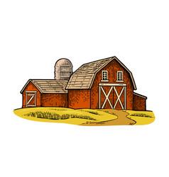 organic farm engraving vintage black vector image vector image
