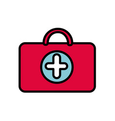 red suitcase healthcare with hospital symbol vector image
