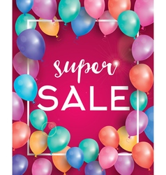 Super sale poster on red background vector image