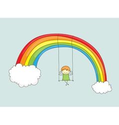 swinging on rainbow vector image vector image
