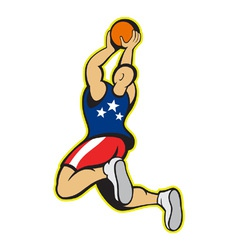 Basketball Player Shooting Jumping Ball vector image