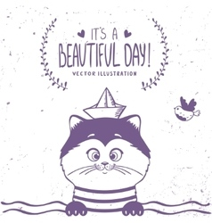 cat sailor vector image vector image