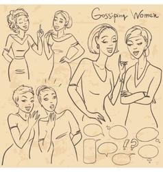 Hand drawn gossiping girls vector image