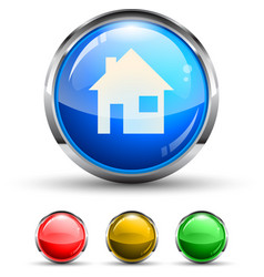 home glossy button vector image