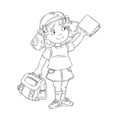 Schoolgirl with book and bag vector image